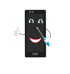 smiling mobile phone vector image