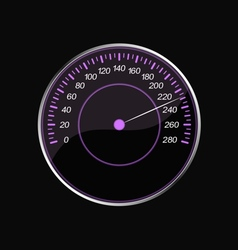 Speedometer on a black background Violet scale vector image