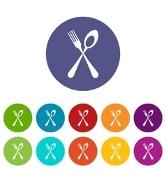 Spoon and fork set icons vector image