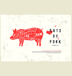 Stock pork cuts diagram vector