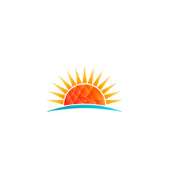 sun shining at beach low poly logo vector image