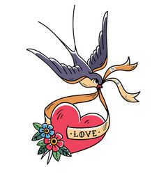Swallow carries over red heart on ribbon love vector
