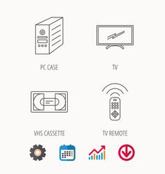 Tv remote vhs cassette and pc case icons vector