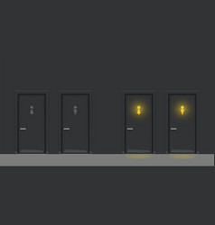 two black wc doors on black wall vector image