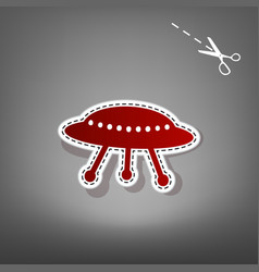 ufo simple sign red icon with vector image