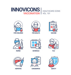 vaccination - line design style icons set vector image