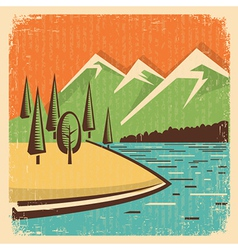 Vintage Nature mountains landscape vector image