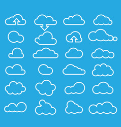 weather clouds icon set-line vector image