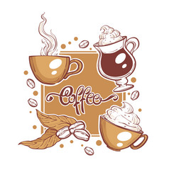 with images coffee cups and beans vector image