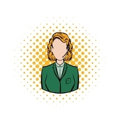 Woman in a green blazer with headset comics icon vector image