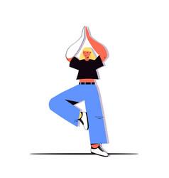 woman standing on one leg and meditating girl vector image