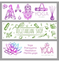 Yoga Banner Set vector image