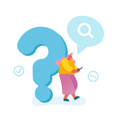 Young woman leaning on huge question mark vector