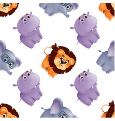 zoo animals seamless pattern with cute balion vector image