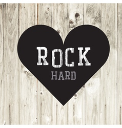 Hard rock wooden concept heart vector image vector image