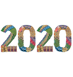 number 2020 zentangle decorative object vector image