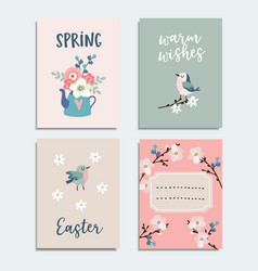 set of cute spring easter greeting cards vector image vector image