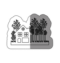 sticker of monochrome contour of cottage in the vector image vector image