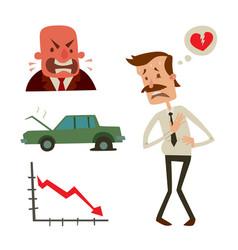 businessman heart risk man heart attack stress vector image
