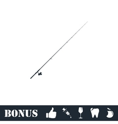 Fishing rod icon flat vector image vector image