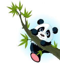giant panda climbing tree vector image vector image