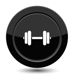 Glossy black dumbbell button vector image