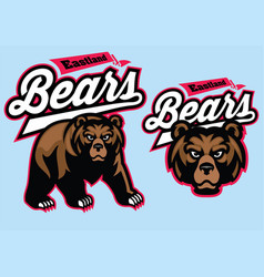 grizzly bear mascot set vector image