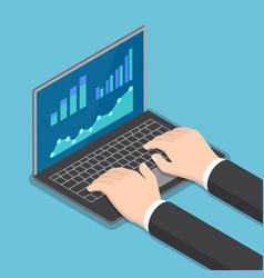 isometric businessman hands using laptop vector image vector image