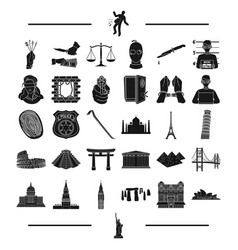 law bank police and other web icon in black vector image