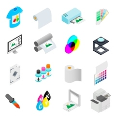 Printing icons set isometric 3d style vector image vector image