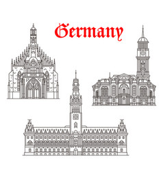 architecture buildings of germany icons vector image vector image