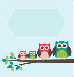 cute owl family with place for text vector image