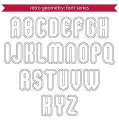 Double delicate line retro characters set light vector image