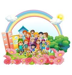 Family members standing in the garden vector image vector image