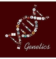 Genetic science symbols in DNA shape icon vector image vector image