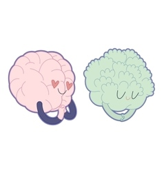 Love to broccoli Brain collection vector image vector image
