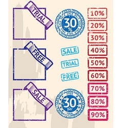 Set of sale stamps with percents vector image
