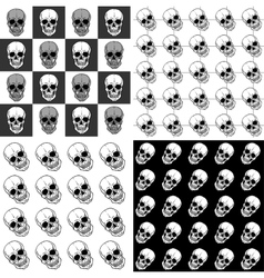 Set of seamless patterns with skulls over black vector image vector image