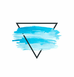 watercolor insertion blue strokes in grey square vector image vector image