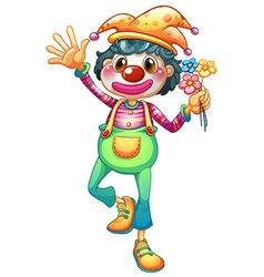 A female clown with three flowers vector image