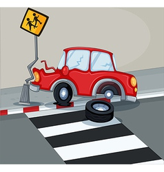 A red car bumping the signage near the pedestrian vector image