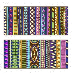 Abstract Ethnic Pattern Cards On Wood Background vector image vector image