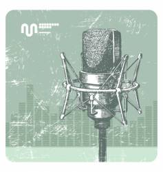 hand drawn microphone vector image vector image