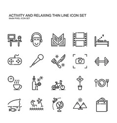 recreation activity and relax thin line icon vector image vector image