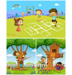 three scenes with kids playing in the park vector image vector image