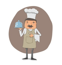 waiter with a tray and notebook vector image