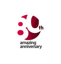 80 th amazing anniversary celebration template vector