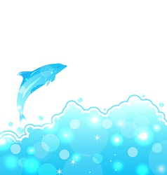 Abstract water card with dolphin vector