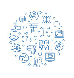artificial and machine intelligence line vector image