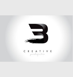 b letter design with brush stroke and modern 3d vector image